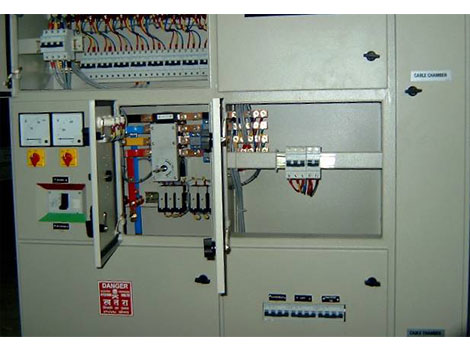 Inside view of Johns Panel showing changeover switch, power and control wiring