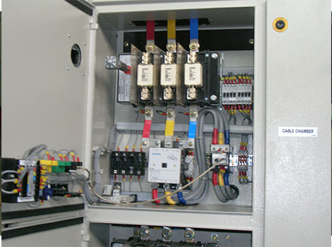 Inside view of starter in Johns Panel showing components and wiring